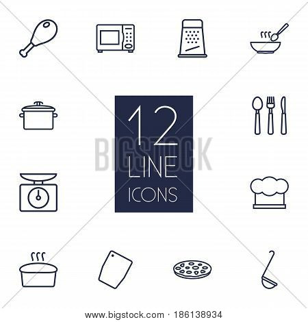 Set Of 12 Kitchen Outline Icons Set.Collection Of Chicken Leg, Chopping Board, Bread And Other Elements.