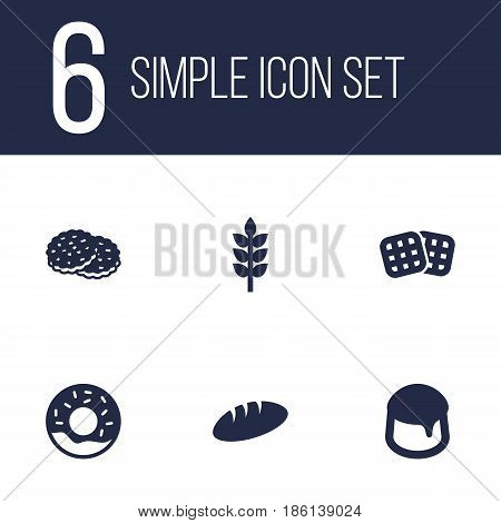 Set Of 6 Cook Icons Set.Collection Of Custard, Shortcake, Loaf And Other Elements.