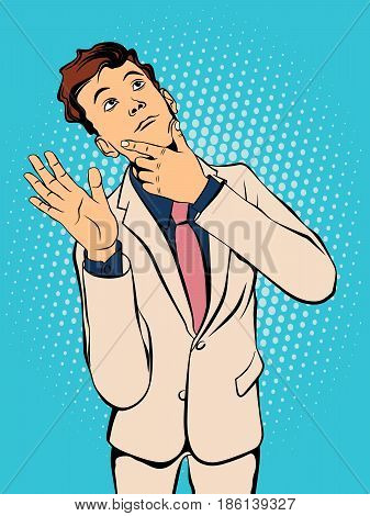Young man waving his hand in greeting. Retro style pop art. Vector illustration