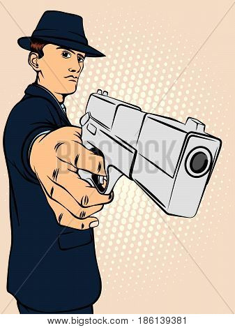 Man is aiming from the pistol. Retro style pop art. Vector illustration