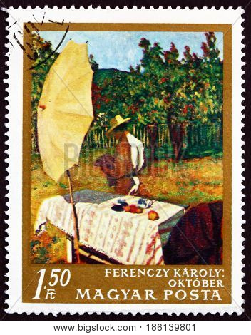 HUNGARY - CIRCA 1967: a stamp printed in Hungary shows October Painting by Karoly Ferenczy Hungarian Painter circa 1967