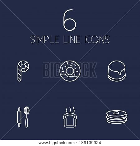 Set Of 6 Oven Outline Icons Set.Collection Of Rolling Pin, Pancakes, Donuts And Other Elements.