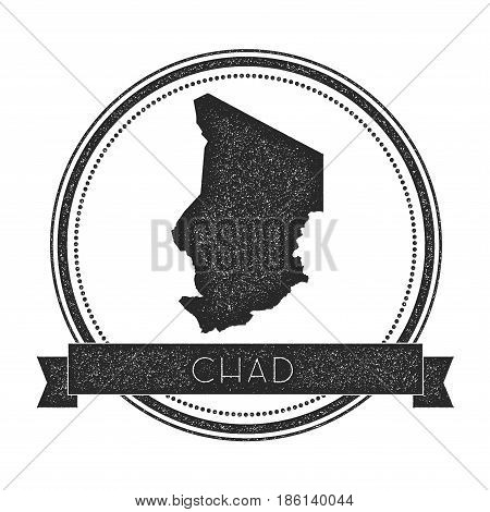 Retro Distressed Chad Badge With Map. Hipster Round Rubber Stamp With Country Name Banner, Vector Il