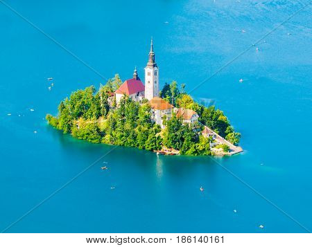 Baroque Church of the Assumption of Saint Mary on Bled Island, Lake Bled, Julian Alps, Slovenia, Europe. Aerial view.