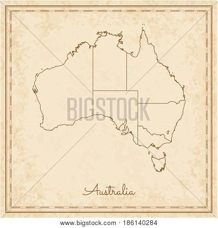 Australia Region Map: Stilyzed Old Pirate Parchment Imitation. Detailed Map Of Australia Regions. Ve