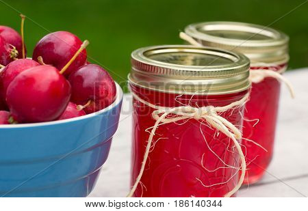 Homemade crab apple jelly with a bowl of crab apples.