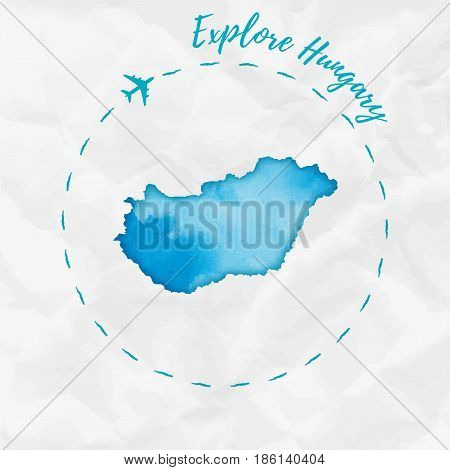 Hungary Watercolor Map In Turquoise Colors. Explore Hungary Poster With Airplane Trace And Handpaint