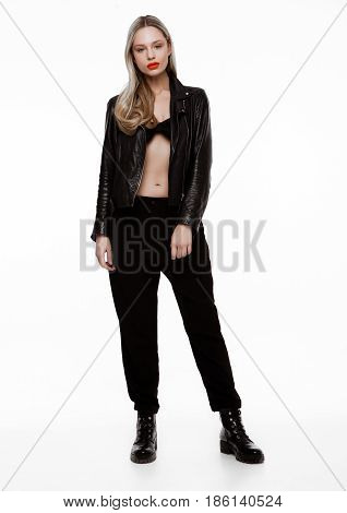 Rockstar Biker Fashion Girl Wearing Leather Jacket