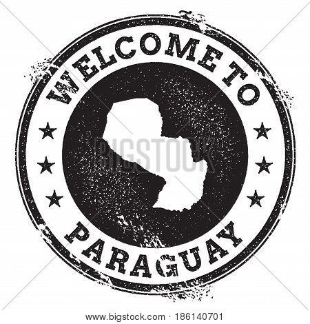 Vintage Passport Welcome Stamp With Paraguay Map. Grunge Rubber Stamp With Welcome To Paraguay Text,