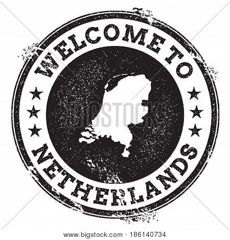 Vintage Passport Welcome Stamp With Netherlands Map. Grunge Rubber Stamp With Welcome To Netherlands