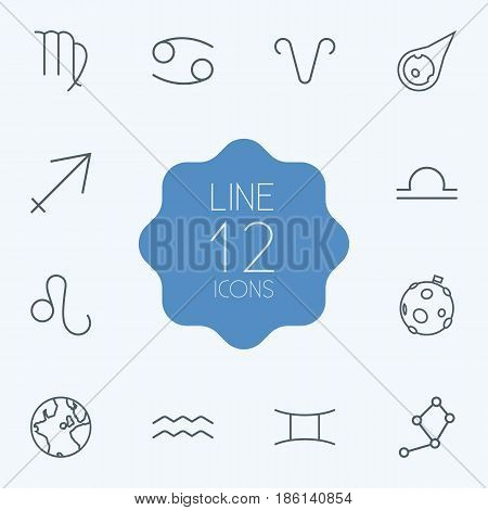 Set Of 12 Astronomy Outline Icons Set.Collection Of Globe, Libra, Constellation And Other Elements.