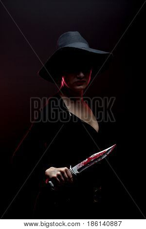 Girl Holding Knife With Blood