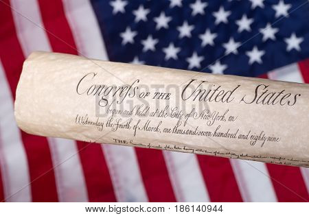 United States bill of rights with american flag in background