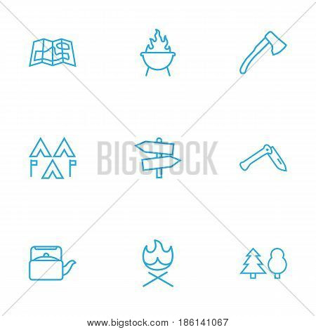 Set Of 9 Adventure Outline Icons Set.Collection Of Guidepost, Teapot, Grill And Other Elements.
