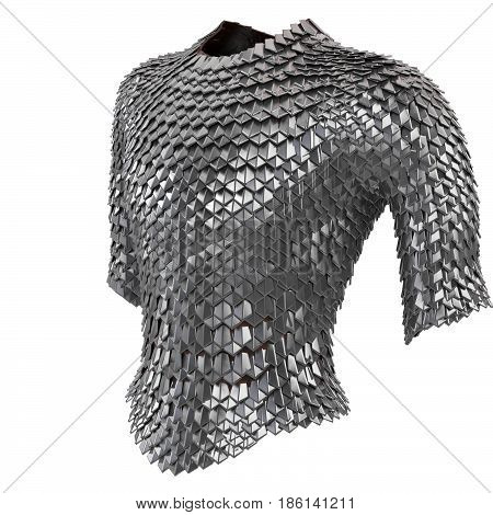 Iron chain armor on isolated white background