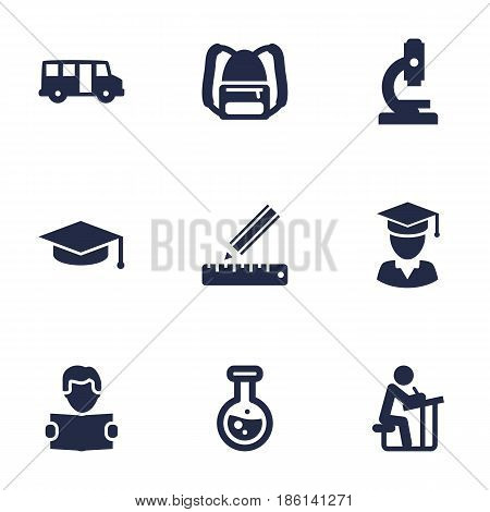 Set Of 9 Science Icons Set.Collection Of Student, Diplomaed Male, Reading And Other Elements.