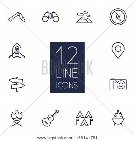 Set Of 12 Adventure Outline Icons Set.Collection Of Grill, Bonfire, Penknife And Other Elements.