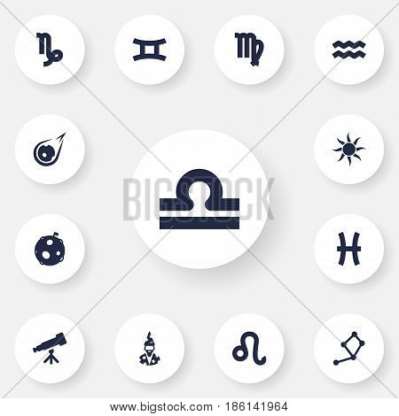 Set Of 13 Astronomy Icons Set.Collection Of Lunar, Comet, Twins And Other Elements.