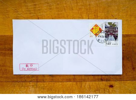 GOMEL, BELARUS - JANUARY 18, 2017: Old envelope which was dispatched from China to Gomel, Belarus,January 18, 2017.