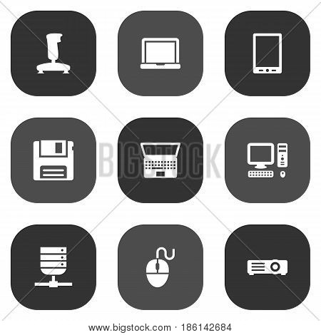 Set Of 9 Computer Icons Set.Collection Of Datacenter, Notebook, Joystick And Other Elements.