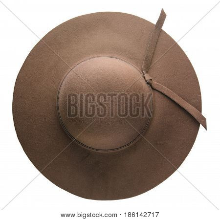 Fedora Hat. Hat Isolated On White Background.brown Hat