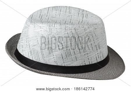 Hat With A Brim .hat Isolated On White Background.gray Hat