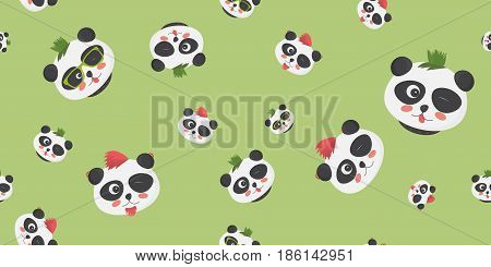 Punk Pandas vector seamless pattern: cute panda bear faces with punk haircuts on a light green background. Great as cloth print, cover or wrapping template, wallpaper or any other template.