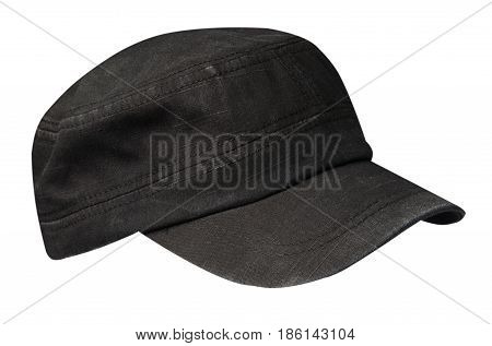 Cap Isolated On White Background. Cap With A Visor.black Cap
