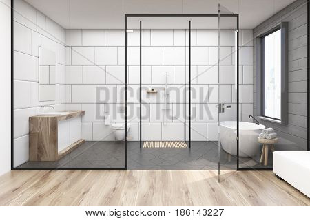 Bathroom interior with a tub standing under a window a double sink and a toilet . Glass and white walls. 3d rendering.