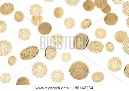 Gold bitcoins are falling against a white background. Concept of cryptocurrency and the future. 3d rendering.