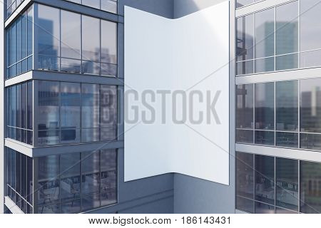 Exterior of a gray skyscraper with large windows and a gigantic double poster between them. 3d rendering mock up