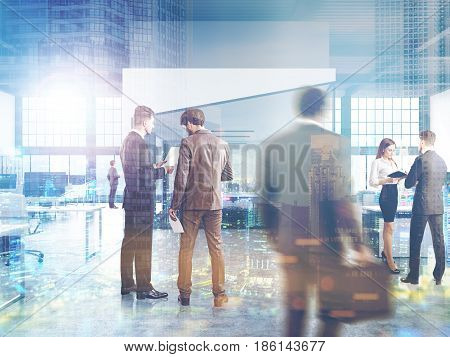 Business people in an open office interior with rows of computer desks and an a aquarium with a conference room in the middle. 3d rendering toned image double exposure