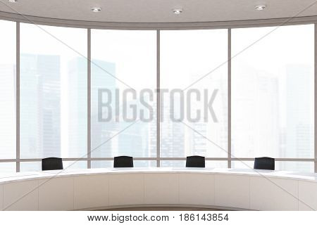 Close up of a conference room interior with a round table black office chairs near it and a panoramic window. 3d rendering