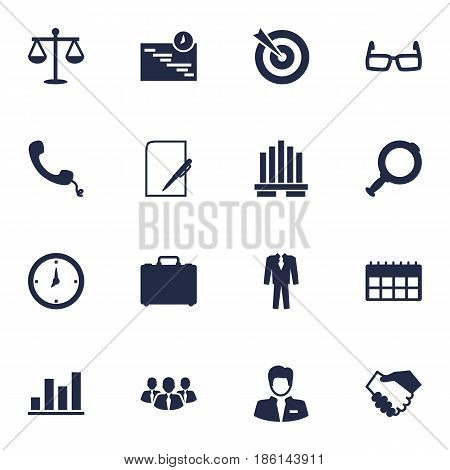 Set Of 16 Employment Icons Set.Collection Of Telephone, Clothes, Diagram And Other Elements.