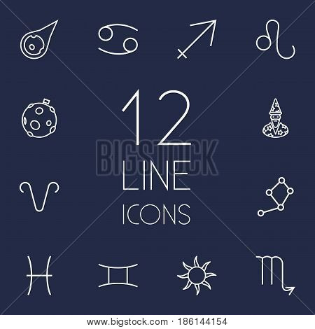 Set Of 12 Galaxy Outline Icons Set.Collection Of Aries, Gemini, Astrologer And Other Elements.