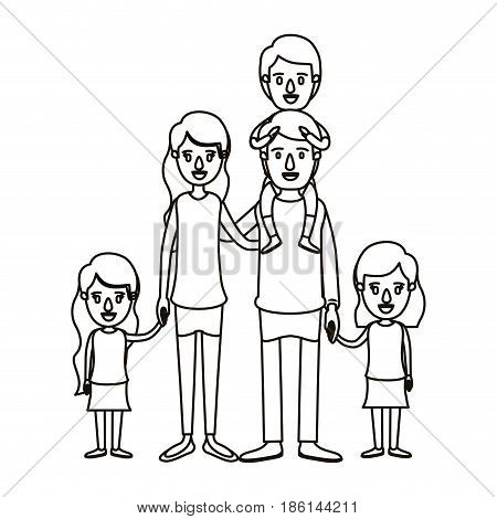 silhouette caricature big family parents with boy on his back and daugthers taken hands vector illustration