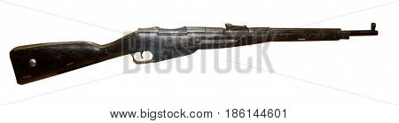 Rifle Isolated On White Background. Vintage Rifle. Rifle Top View