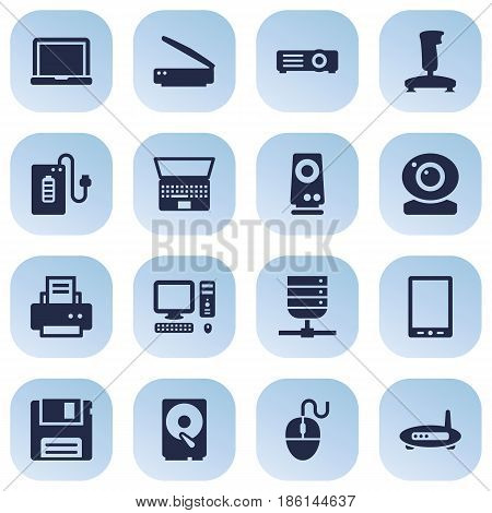 Set Of 16 Laptop Icons Set.Collection Of Palmtop, Record, Diskette And Other Elements.