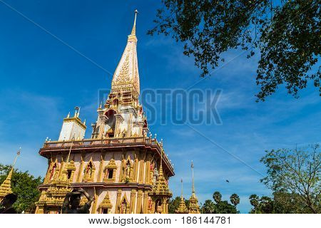 Pagoda At Wat Chalong Or Chalong Temple Blue Sky Background
