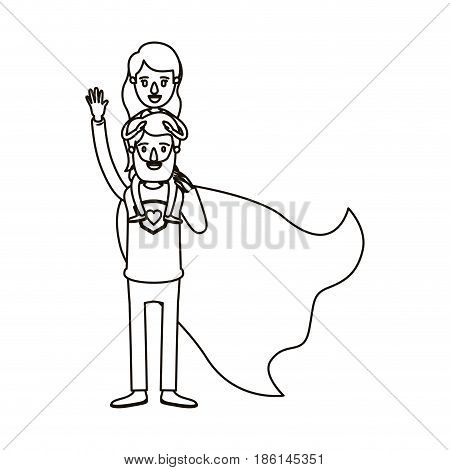 silhouette cartoon full body super dad hero with girl on his back vector illustration