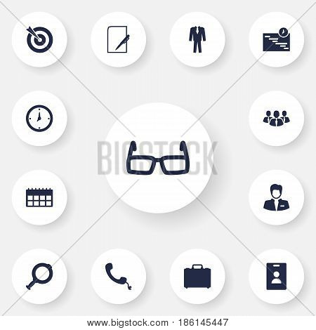 Set Of 13 Business Icons Set.Collection Of Telephone, Colleagues, Time And Other Elements.