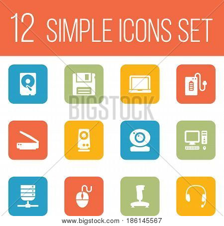 Set Of 12 Laptop Icons Set.Collection Of Control Device, Computer, Laptop And Other Elements.
