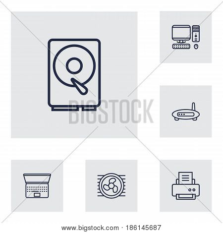 Set Of 6 Notebook Outline Icons Set.Collection Of Printer, Modem, Laptop And Other Elements.