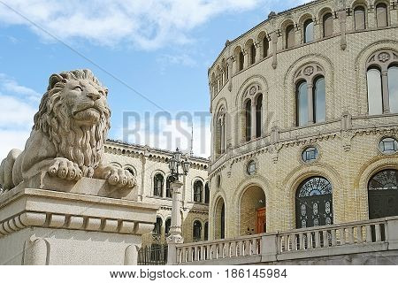 Stone statue of lion in Oslo Norway