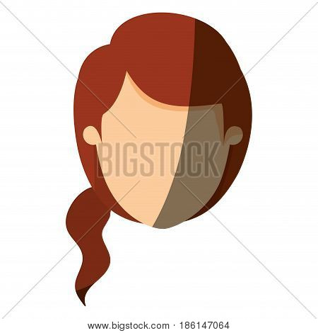 color image shading front view faceless closeup woman with redhead ponytail side hair vector illustration