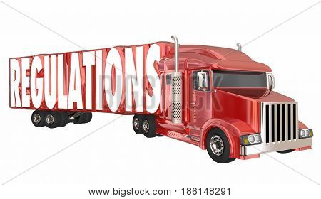 Regulations Trucking Transportation Shipping Laws Rules 3d Illustration