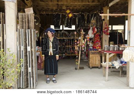 Thai Women Senior Tai Dam People Wear Costume Traditional For Take Photo At Tai Dam Ethnic Museum Ho