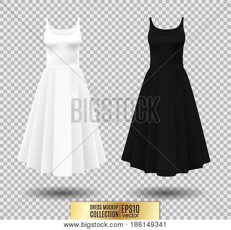 Women's dress mockup collection. Dress with long pleated skirt. Realistic vector illustration. Fully editable handmade mesh. Festive dress without sleeves. White and black variation.