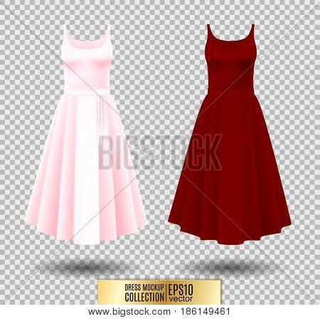 Women's dress mockup collection. Dress with long pleated skirt. Realistic vector illustration. Festive dress without sleeves. Pink and red variation.