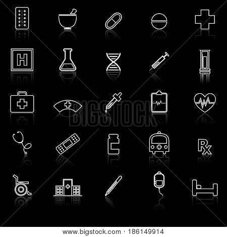 Pharmacy line icons with reflect on black background, stock vector